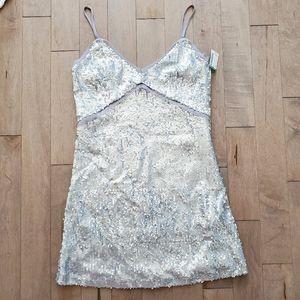 Silver sequin mini party dress
